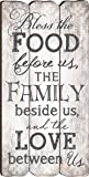 Bless The Food, Family and Love Small Fence Post Wood Look Wall Art Plaque