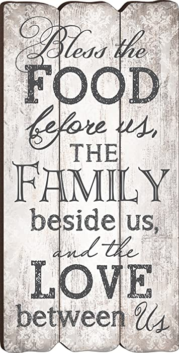P. Graham Dunn Bless The Food, Family and Love Small Fence Post Wood Look Wall Art Plaque