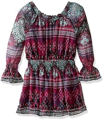 eb043a6d8b82 Amazon.com  Ella Moss Girls Slim Size Cici Printed Peasant Dress ...