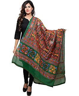 Banjara Women'S Cotton Stoles & Dupattas Kutchi Bharchak (Vip05 _Dark Green _Handicraft Dupatta_Free Size) at amazon
