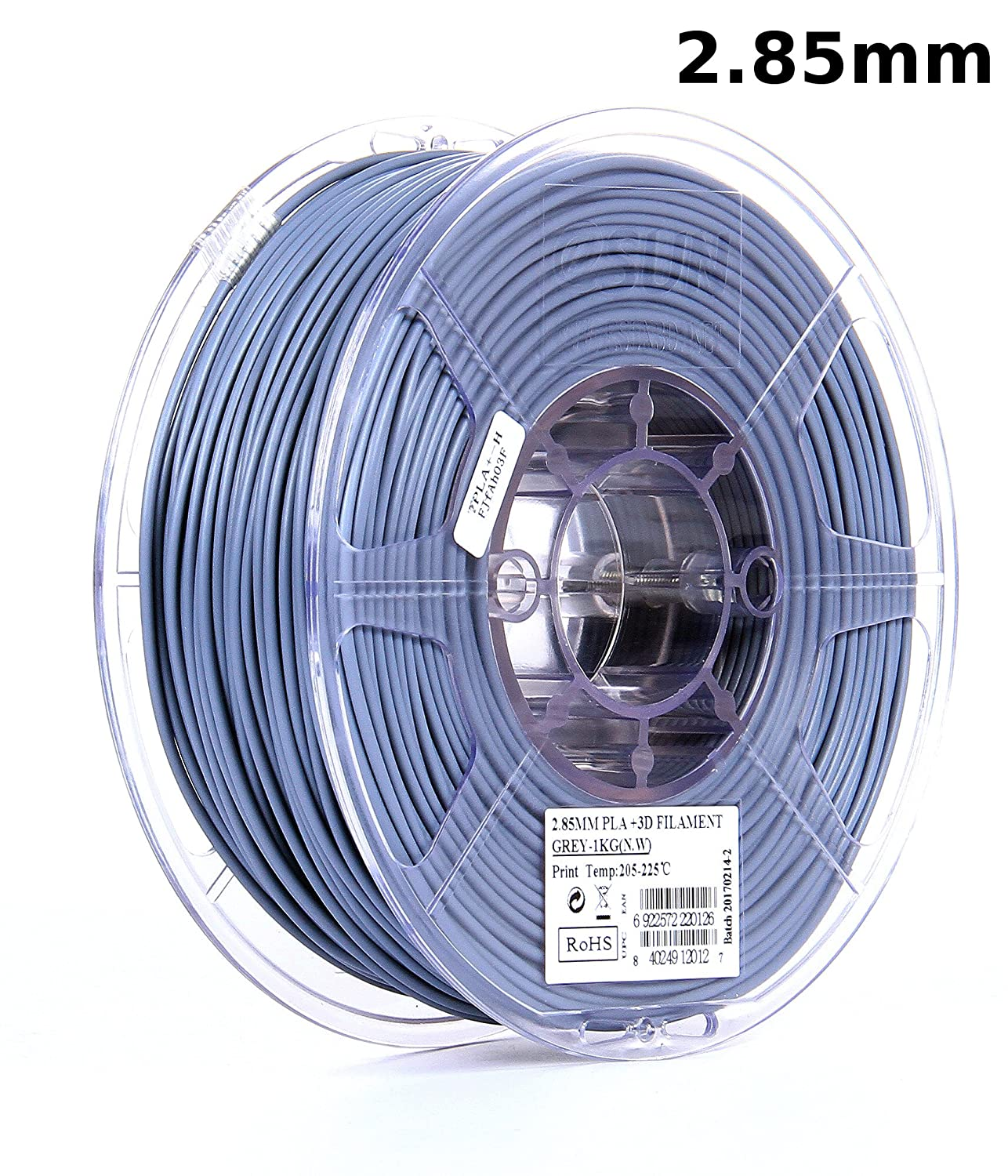 eSUN 3mm Gray PLA PRO (PLA+) 3D Printer Filament 1KG Spool (2.2lbs), Actual Diameter 2.85mm +/- 0.05mm, Gray, (Pantone 2107C)