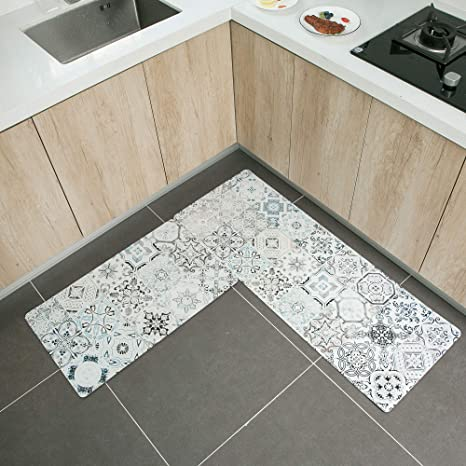 Kitchen Mat Set 2 Piece Waterproof Kitchen Rugs Soft Non Slip Rubber Back Floor Mats Washable Oil Proof Doormat Bathroom Runner Area Rug Carpet 18