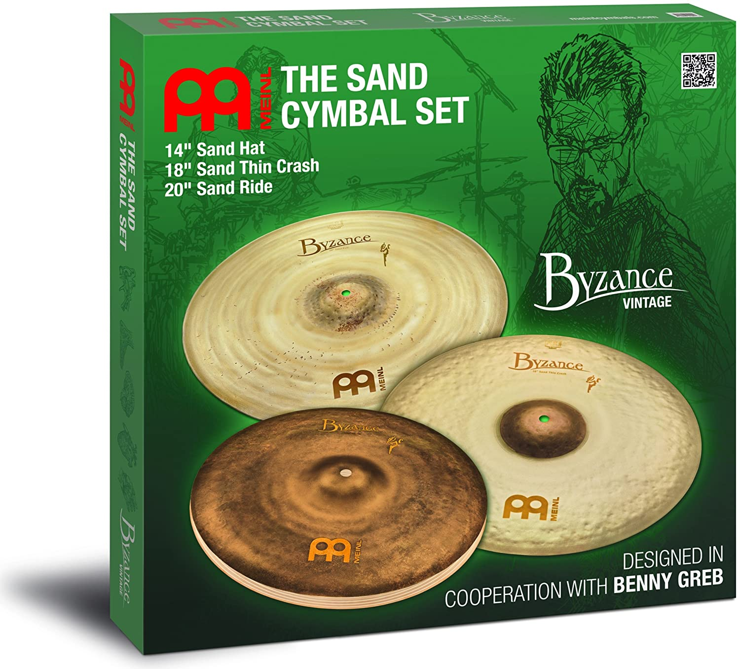 Meinl Cymbals BV-141820SA Meinl Signature Models Benny Greb Byzance Vintage Sand Becken Set (35,6 cm (14 Zoll) Hats, 45,7 cm (18 Zoll) Thin Crash, 50,8 cm (20 Zoll) Ride)