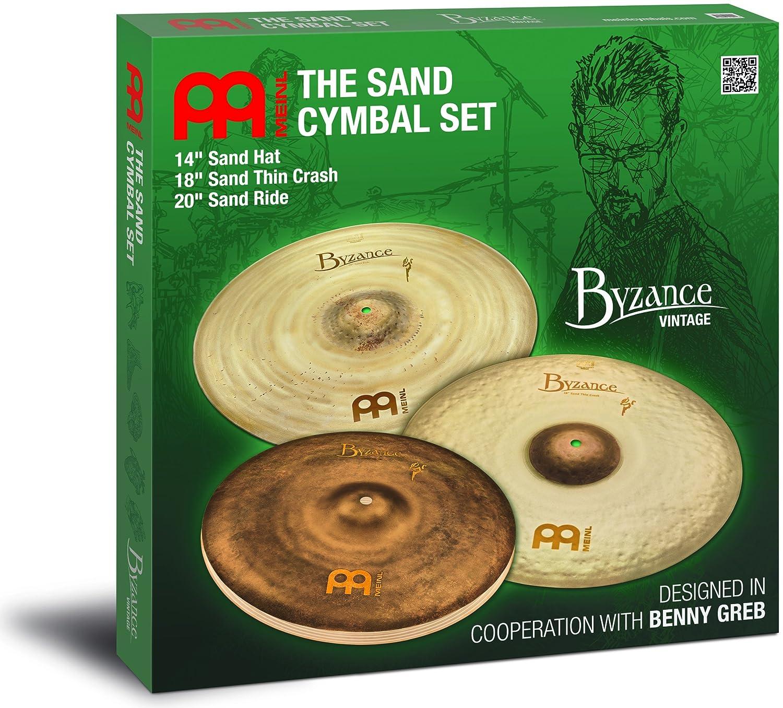 Meinl Cymbals BV-141820SA Meinl Signature Models Benny Greb Byzance Vintage Sand Becken Set (35,6 cm (14 Zoll) Hats, 45,7 cm (18 Zoll) Thin Crash, 50,8 cm (20 Zoll) Ride)