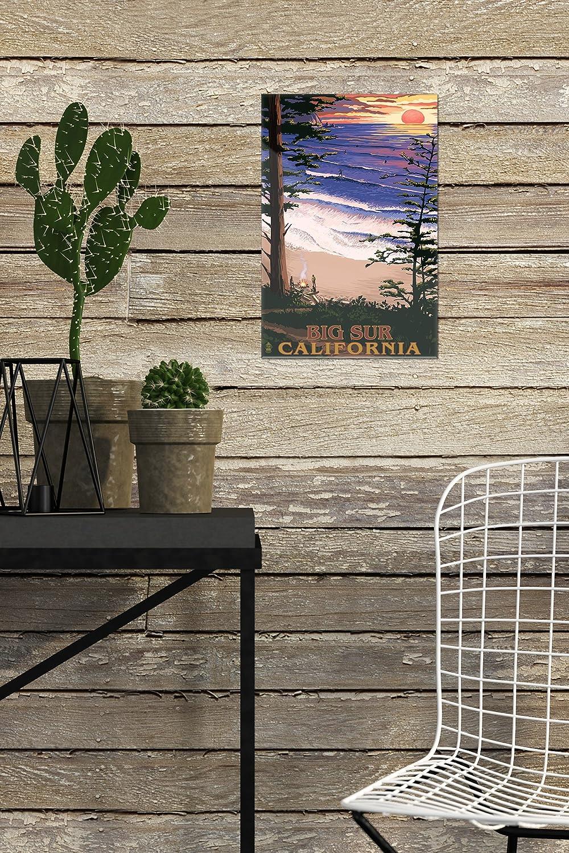 California surfing e tramonto Legno Multicolor 10 x 15 Wood Sign Big sur