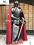 NauticalMart Medieval Black Knight Suit of Armor with Shield, Cloak & Armor Stand LARP
