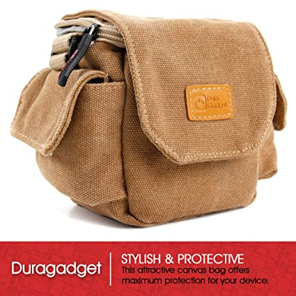 Amazon.com: DURAGADGET Tan-Brown Small Sized Canvas Carry Bag for ...