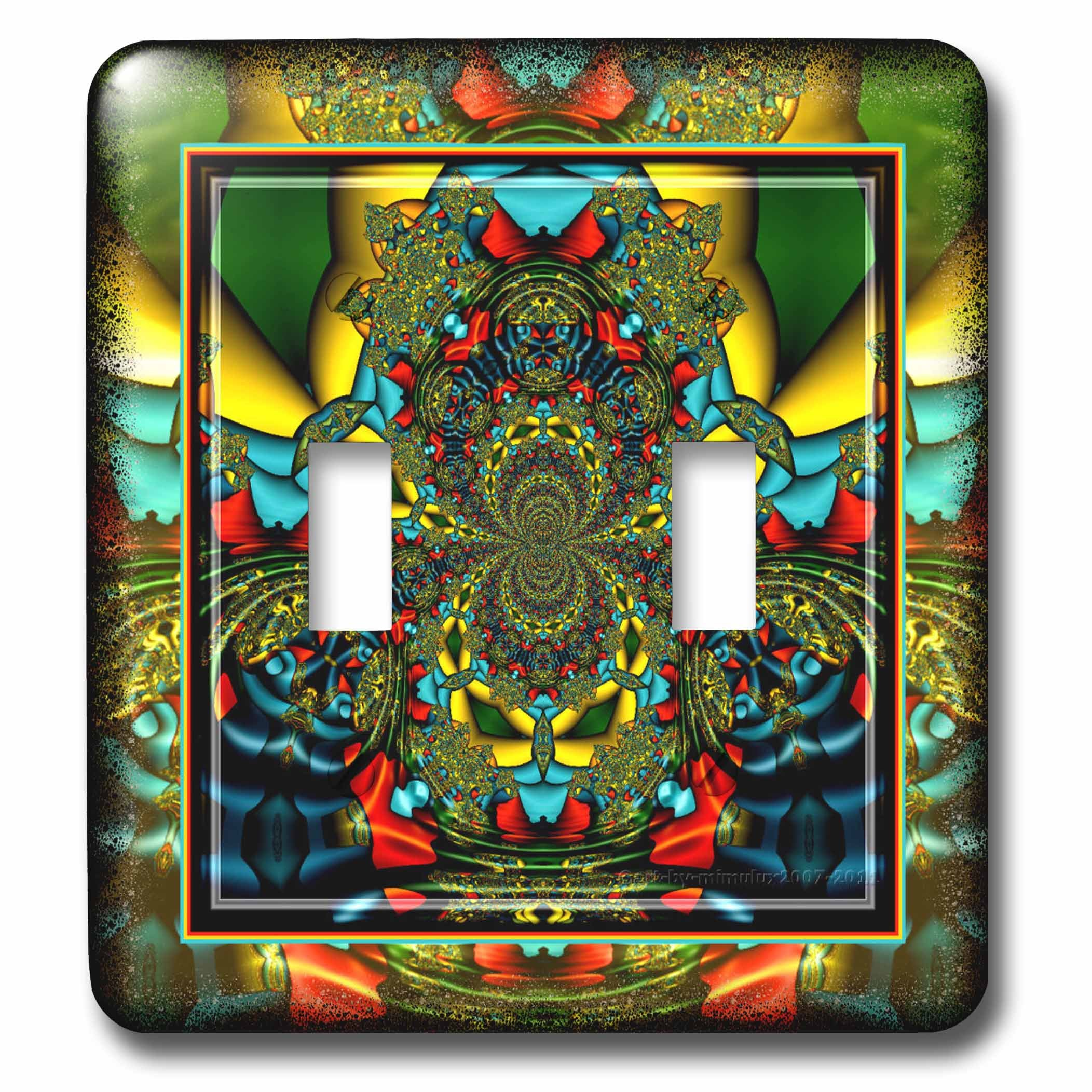 3dRose lsp_24841_2 Psychedellica 2 Hippie Flower Power Retro Fractal Psychedelic Red Yellow Blue Retro Oriental India Double Toggle Switch