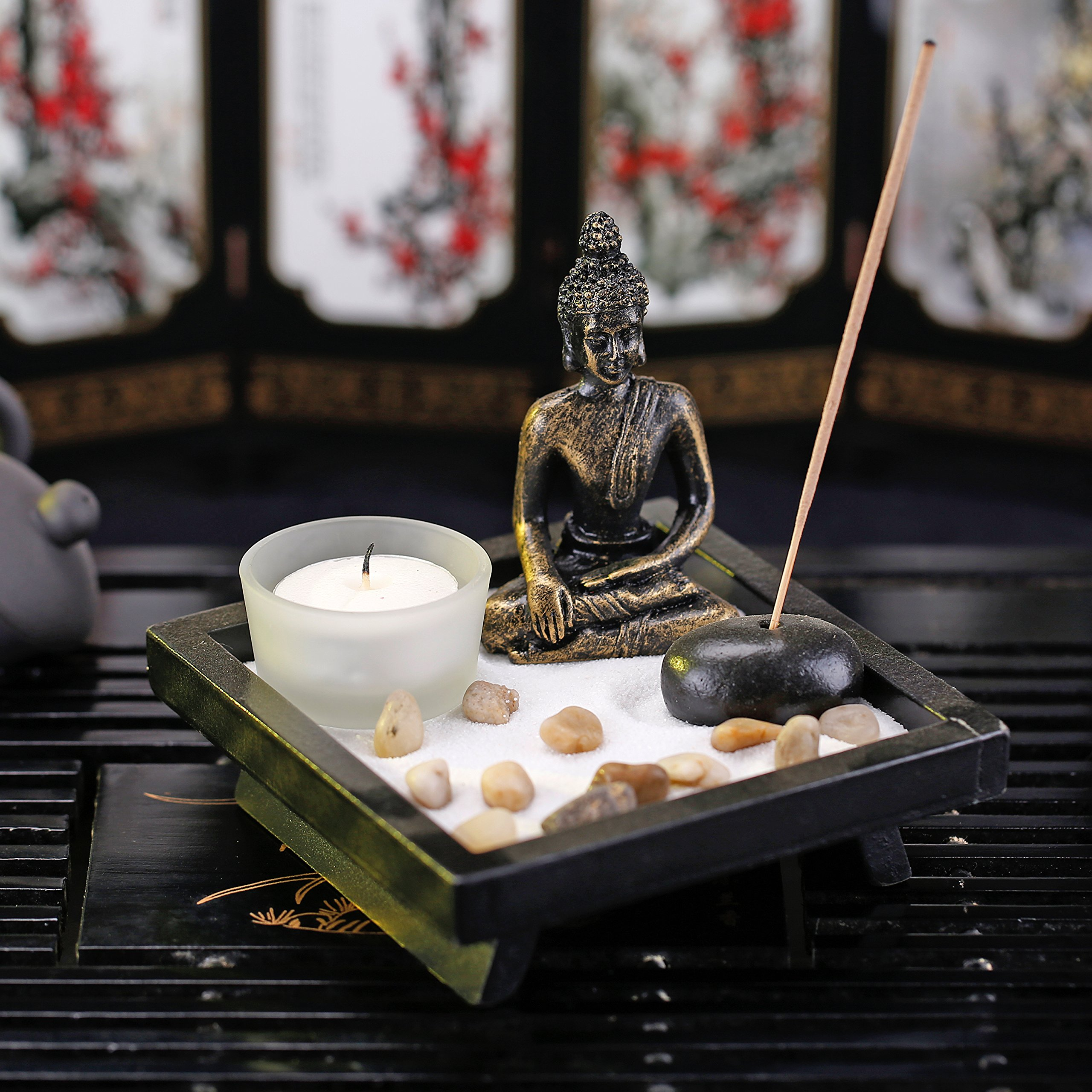 Mini Zen Rock Garden with Buddha Statue, Incense and Tealight Candle Holder - MyGift