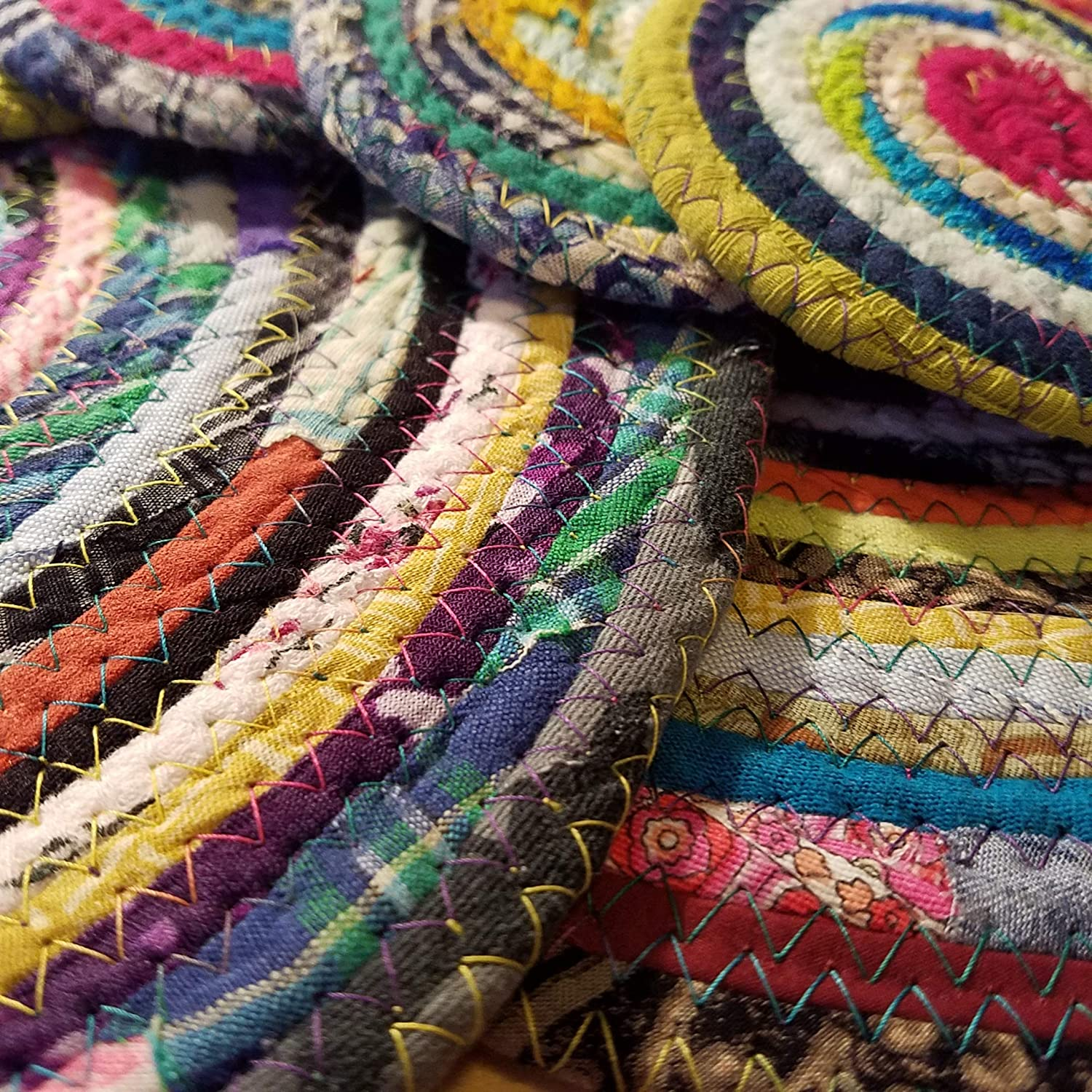 Upcycled Braided Rug Style Handmade Fabric Bohemian Cloth Mat 14 Multicolor Jewels Fabric Table Mat Qty: 1 Placemat Eco-Conscious