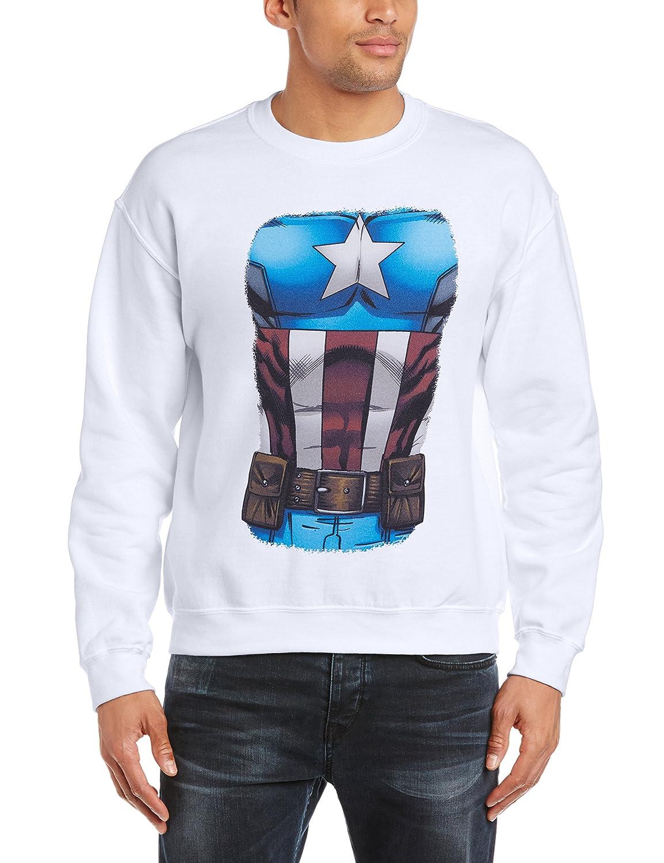 Marvel Avengers Assemble Captain America Chest Burst - Sudadera Hombre BILAA00130-WHITE