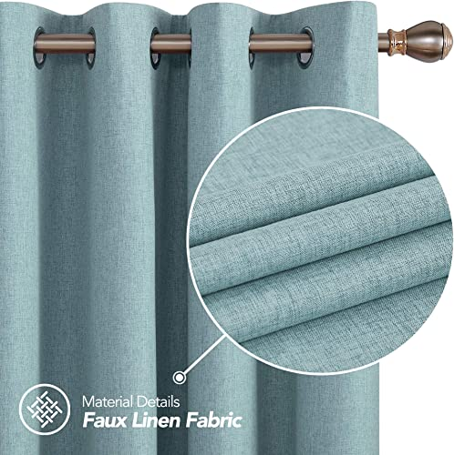 Deconovo Total Blackout Curtains Pair Thermal Insulated Grommet Sun Blocking Curtains for Bedroom Teal 52W x 108L Inch 2 Panels