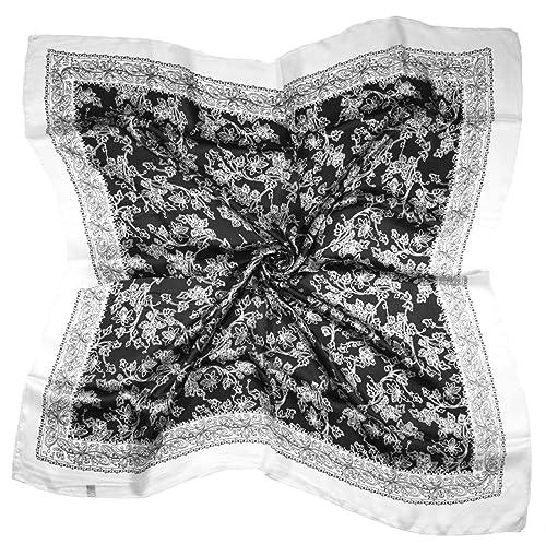 Bees Knees Fashion - Sciarpa - Sciarpa Quadrata Di Seta Pura Fine Della Foglia Del Fiore Nero Bianco