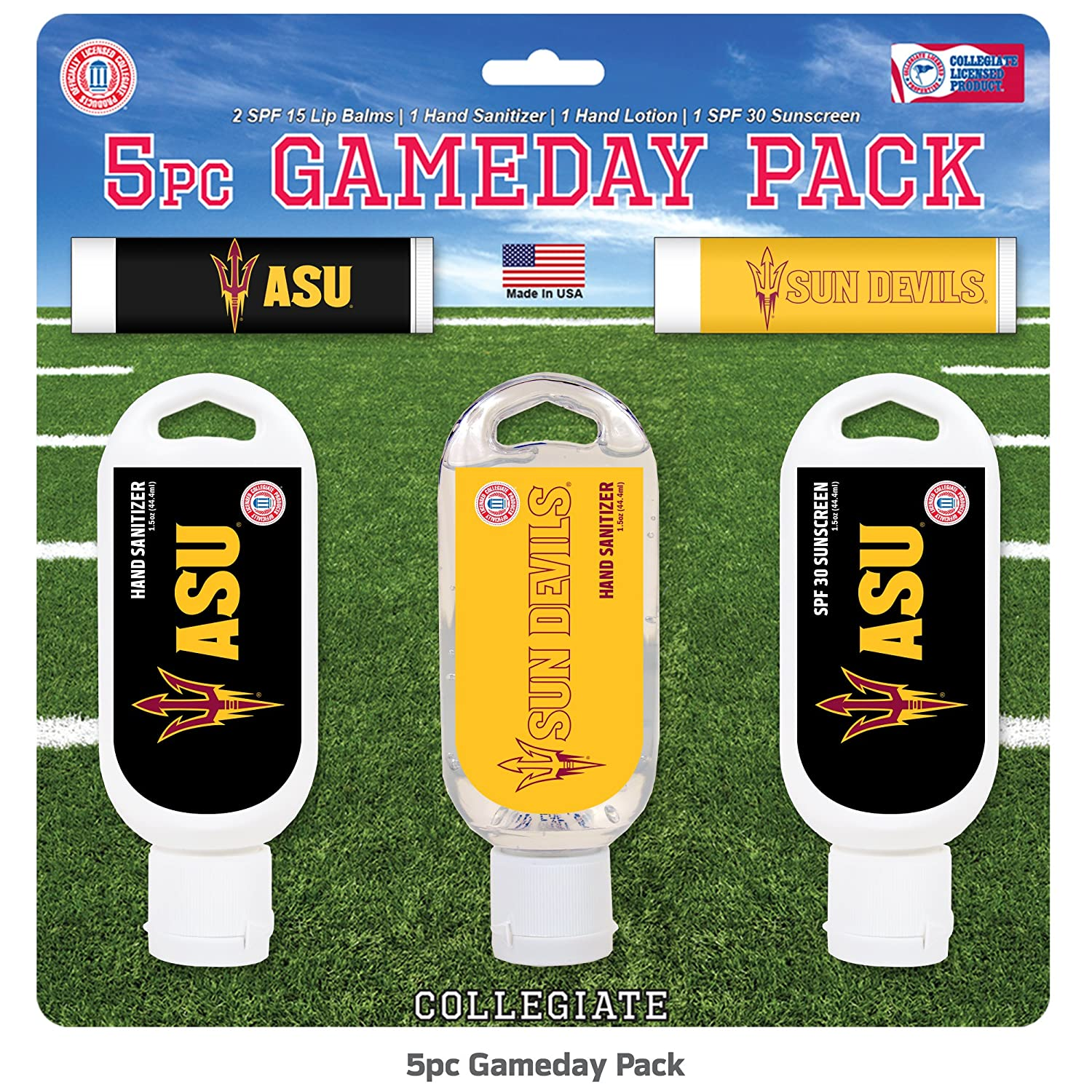 Worthy Promotional NCAA Game Day 5-Pack with 2 Lip Balms, 2 Hand Sanitizers, 1 Hand Lotion 1 Hand Sanitizer 1 SPF 30 Sport Sunscreen Worthy Promotional Products AL-UA-5PK