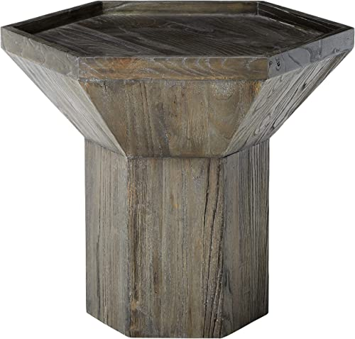 Amazon Brand Rivet Geometric Elm Wood Side End Accent Table, 25.59 W, Dark Grey Finish