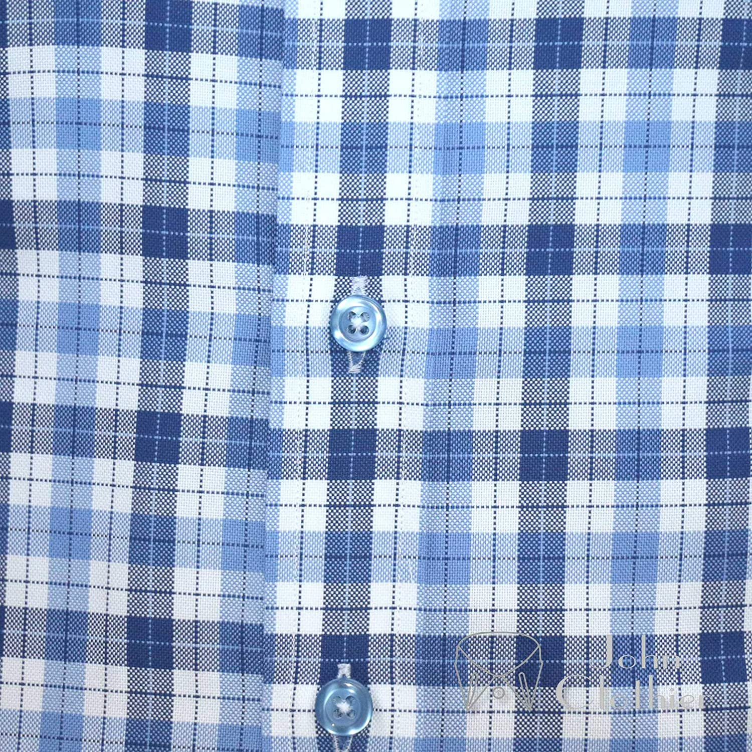 Mens 1930s 1940s 1950s Spear Point Collar Blue British Checks Bankers Shirt Vintage Classic 100/% Cotton 200-41