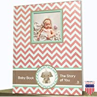 Elephant Baby Girl Memory Book - Newborn Journal Pink - Baby First Year Book Album - Baby Shower Book Gift - Baby…