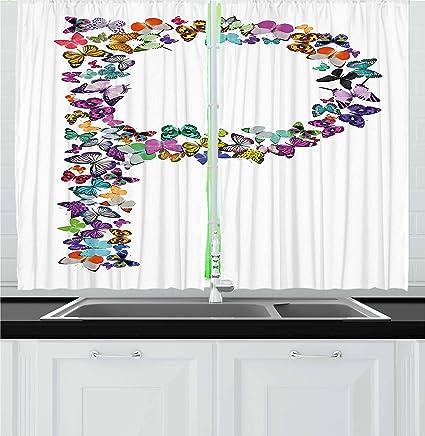Amazon Com Ambesonne Letter P Kitchen Curtains Artistic