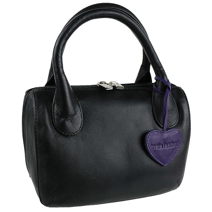 2286c50f26e2 Ladies LEATHER Twin Handle MINI Grab Bag by Mala  Anishka Collection Handbag  (Black)  Amazon.co.uk  Clothing