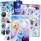 Disney Frozen Coloring Book Set with Frozen Stickers - Bundle Includes Frozen 192 pg Coloring Book, Frozen Stickers, 3-D Puff
