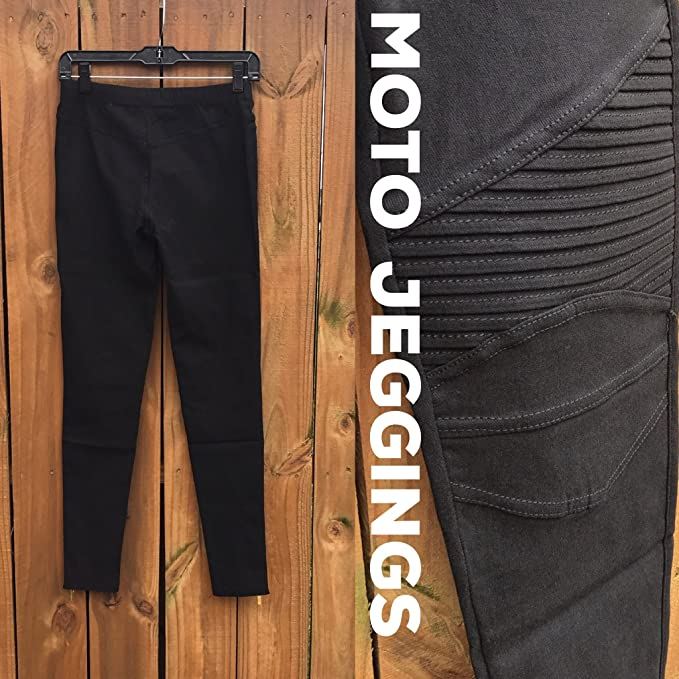 d9d57c6bb6256 Sassyclassyjewelry Womens Moto Leggings Zipper Jeggings Stretchy Biker  Pants Pleated Black Skinny Jeans at Amazon Women's Clothing store: