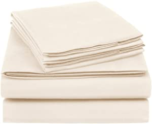 AmazonBasics Essential Cotton Blend Sheet Set -Queen, Beige