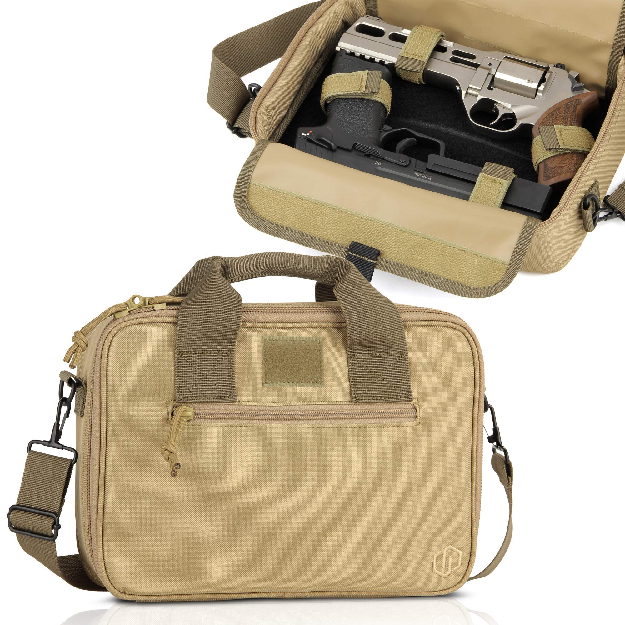 Savior Equipment Tactical Double Handgun Firearm Case Discreet Pistol Bag - Additional Magazine Storage Slots, Lockable Compartment w/Adjustable Shoulder Strap by Savior Equipment