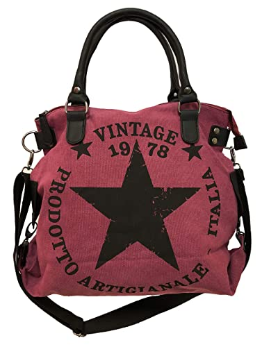 1db346fafd840 Star Bag Vintage Stern Damen Stamp Tasche Fashion Shopper Henkeltasche Canvas  Stoff (Beere)