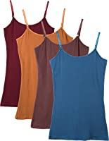 Caramel Cantina Shelf Bra Cami Tank-Top in Assorted Colors 2 or 4-Pack