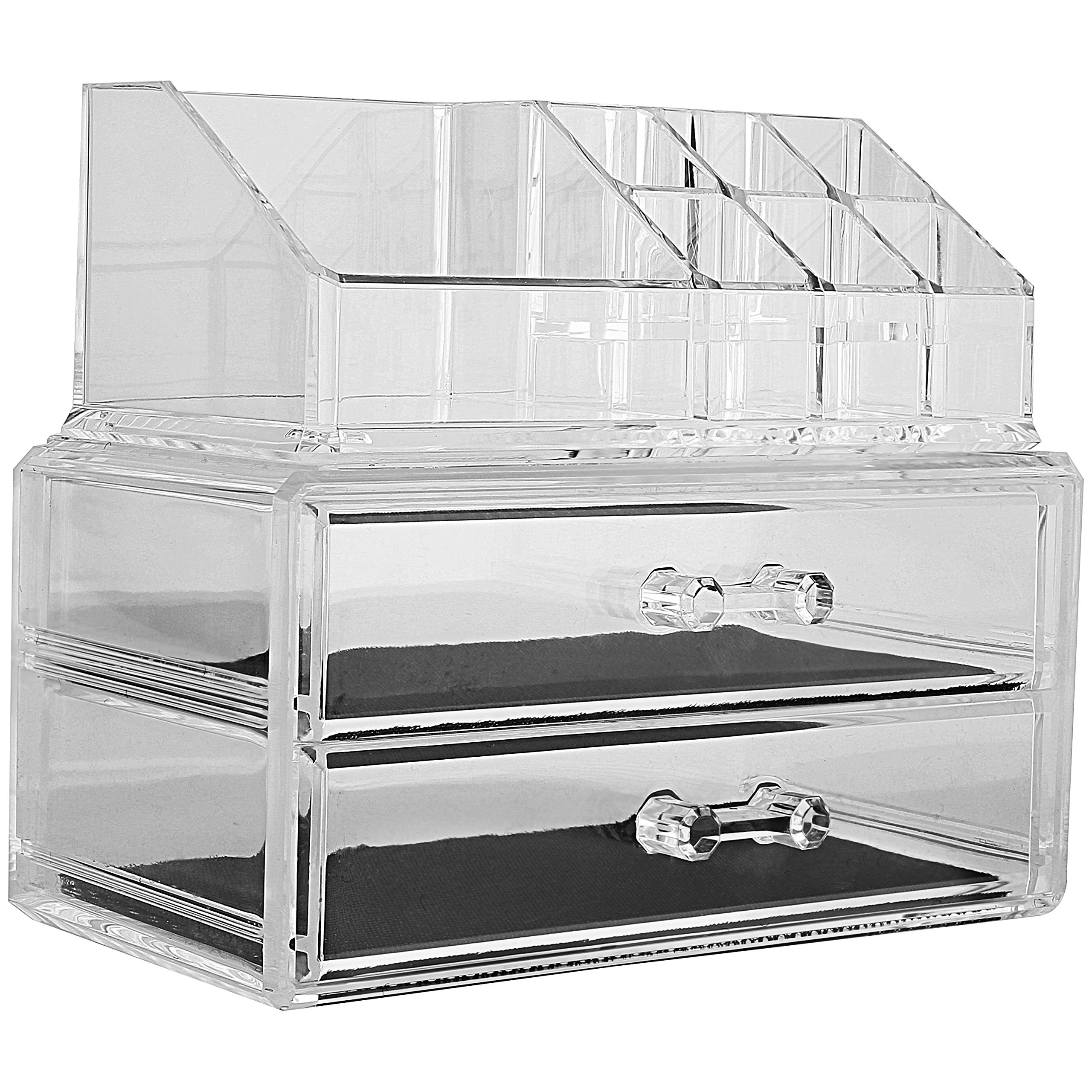 MCB Home Essentials-Acrylic Makeup & Cosmetic Jewelry Organizer -Storage Display Box with 2 set of Drawers by Home Essentials