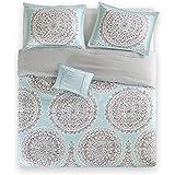 Bed Room Full/Queen Bed Comforter - Fits Full and Queen Bed Comforter Set- 4 Piece All Season Bed in a Bag Queen- Aqua & Grey - Includes 1 Comforter, 2 Shams & 1 Decorative Pillow - Adele