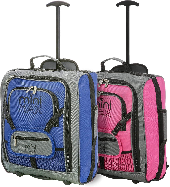 Minimax Equipaje Infantil niños Cabina de Equipaje Maleta Trolley con la Mochila y la Bolsa para su Favorito Juguetes/muñecas/Peluches (Azul + Rosa)