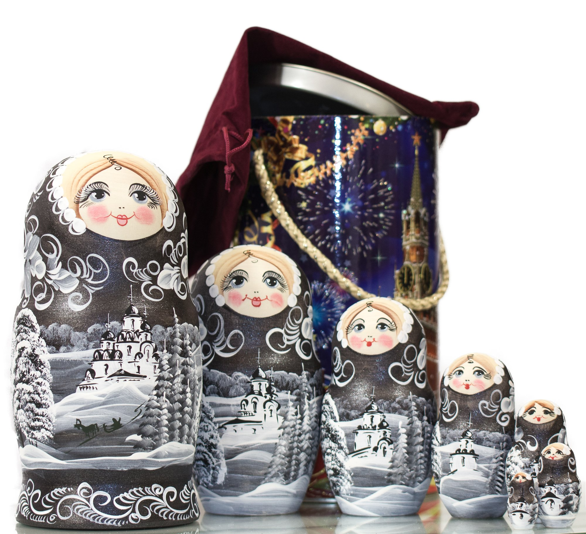 Russian Nesting Doll - ''Winter`s Tale'' - Hand Painted in Russia - MOSCOW KREMLIN GIFT BOX - Wooden Decoration Gift Doll - Traditional Matryoshka Babushka (8`` (7 dolls in 1), Silver Night) by craftsfromrussia (Image #4)