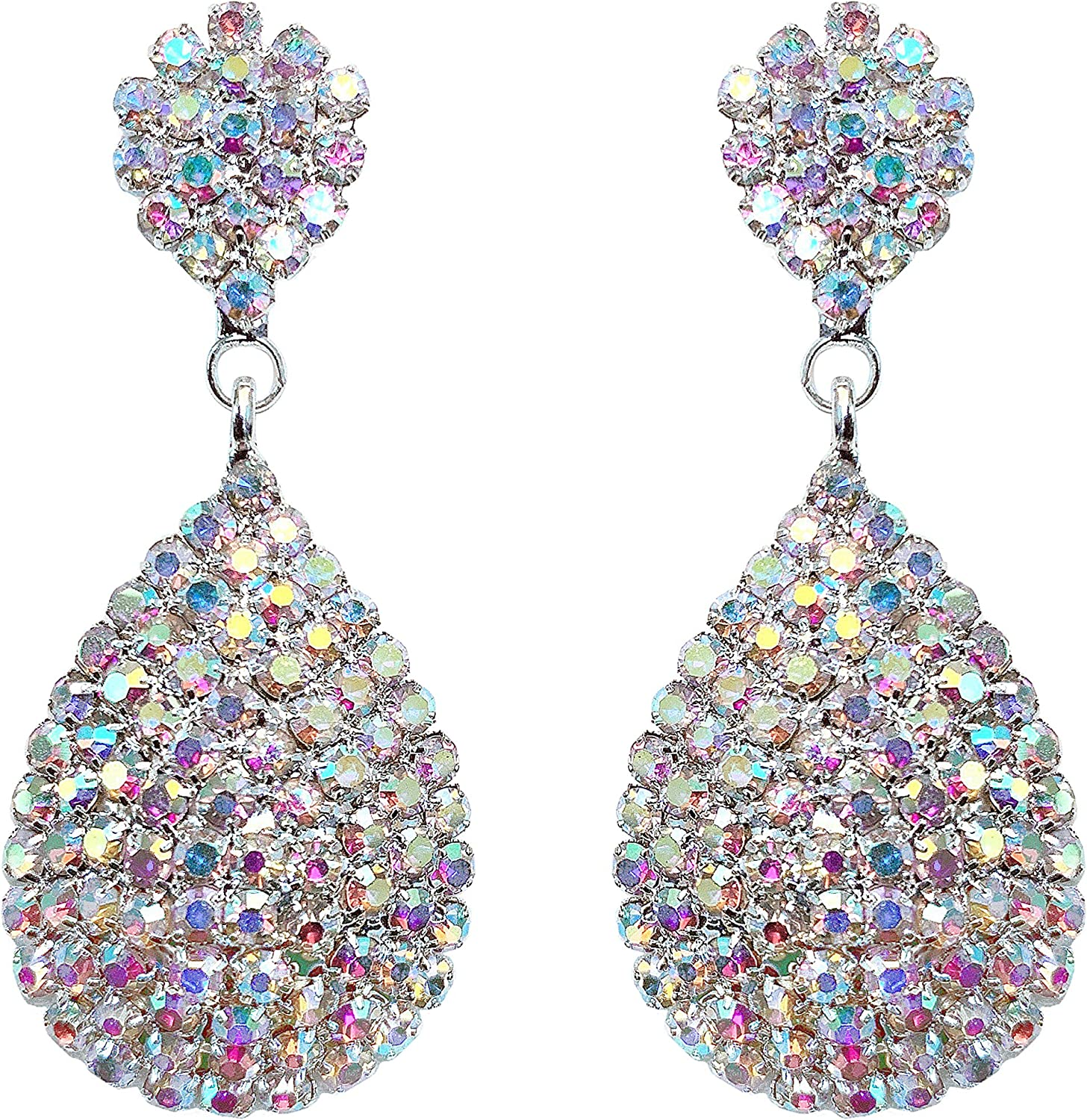 Sparkling Triple strand Aurora Borealis iridescent necklace and wired cluster earring set bridal formal classy elegant