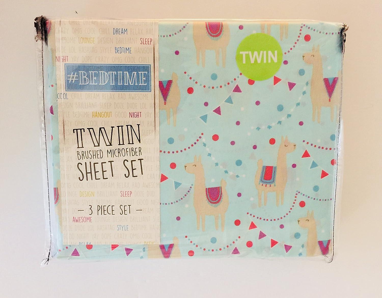 #Bedtime 3-PC TWIN sheet Set LLAMAS, Ballons, Pennants on Blue