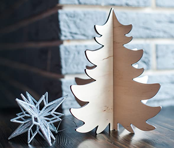 wood christmas tree christmas tree made of plywood in natural color christmas table decoration - Wooden Christmas Table Decorations