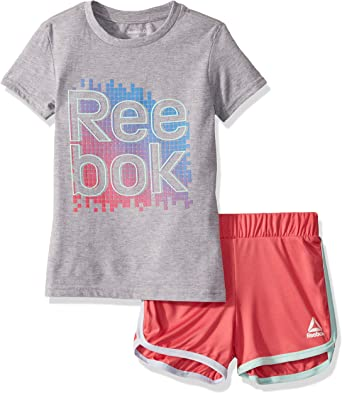 Reebok Girls Sleeve Athletic T-Shirt and Pull-on Short Set