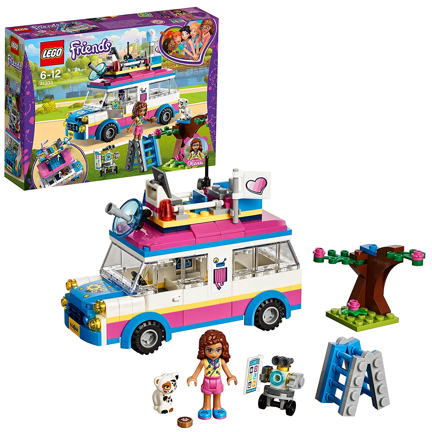 LEGO 41333 Friends Heartlake Olivia's Mission Toy Vehicle, Olivia Mini Doll and Truck Fun Playset for Kids