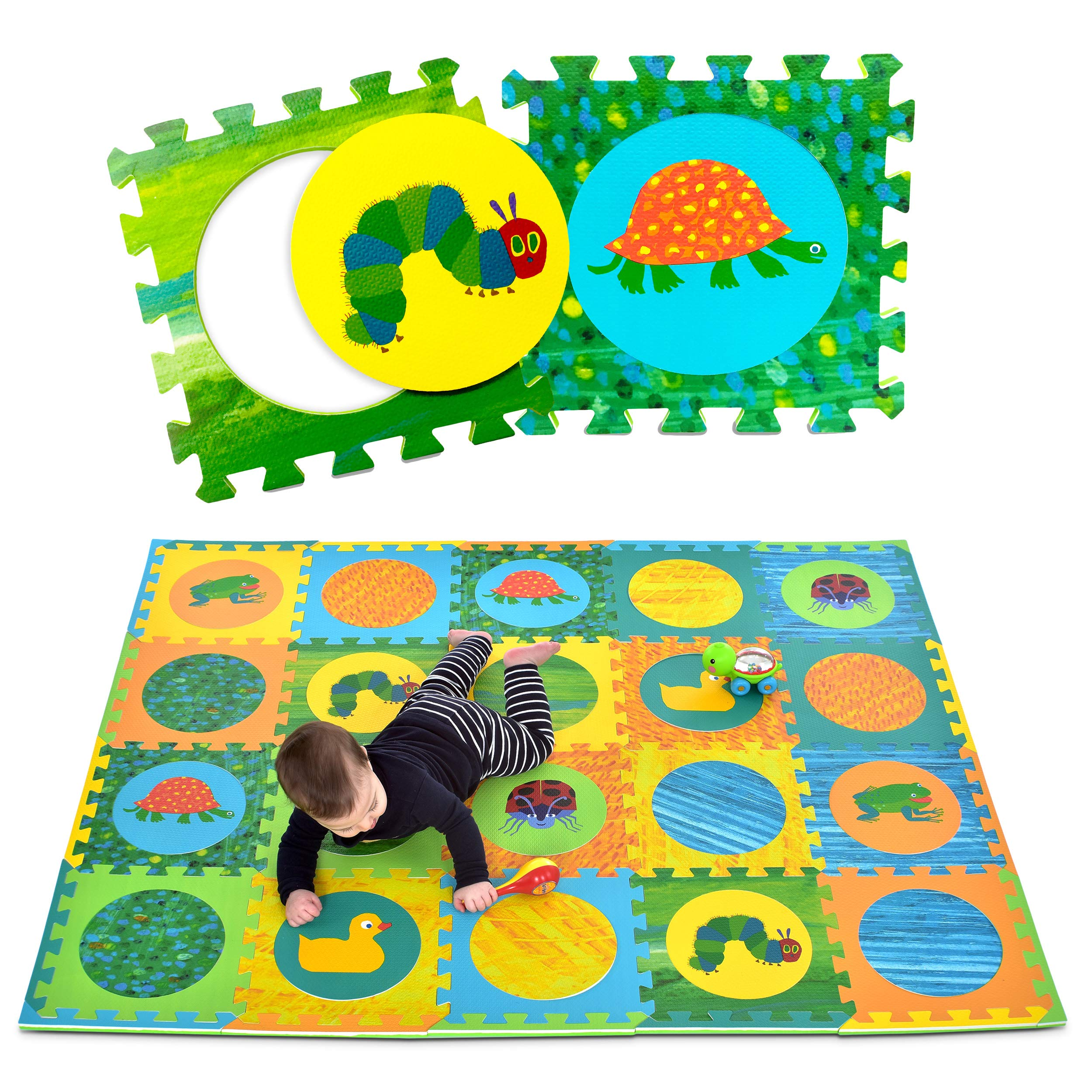 Eric Carle Interlocking Baby Play Mat, Very Hungry Caterpillar Foam Floor Tiles for Infants and Children, 52'' x 65'' by Eric Carle