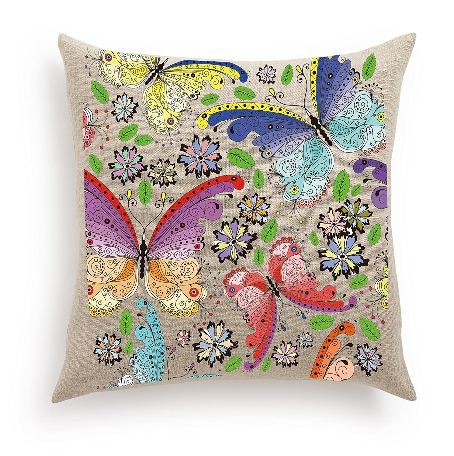 Haute Art Designs Decorative Diy Pillow Cover With 12 Paint Tubes And Brush Butterflies