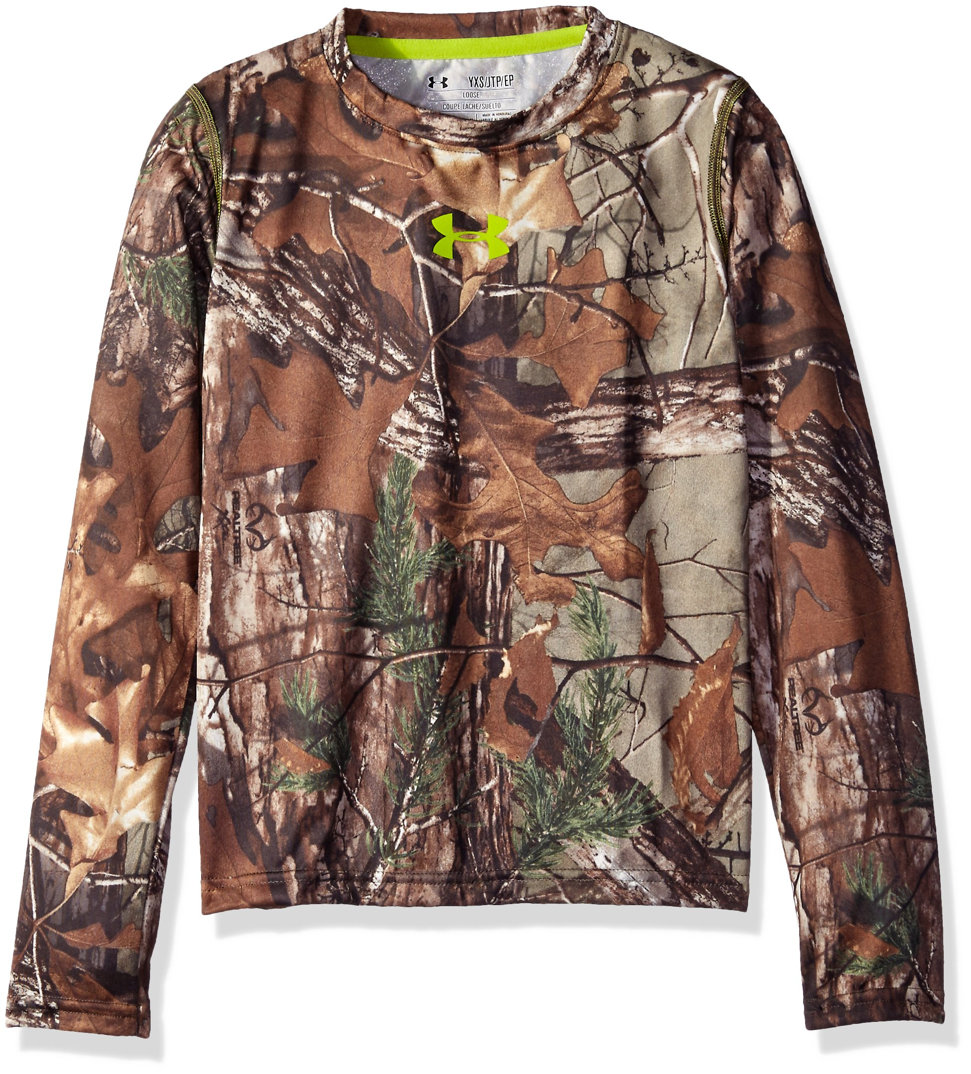 Under Armour Boys' Tech Scent Control Long Sleeve T-Shirt, Realtree Ap-Xtra /Velocity, Youth Small by Under Armour