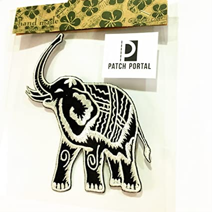 ea6bfb43a Elephant Black and White Emblem Logo 5 Inches Size Vintage Animals Wild  Life Thailand Style Embroidered