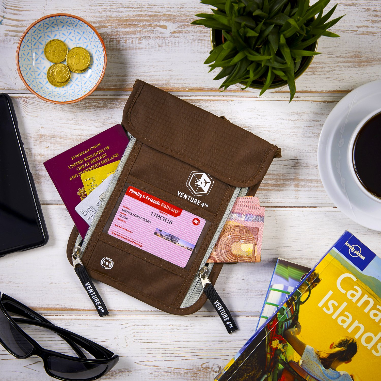 Venture 4th Passport Holder Neck Pouch With RFID – Safety Passport Pouch (Brown) by VENTURE 4TH (Image #6)