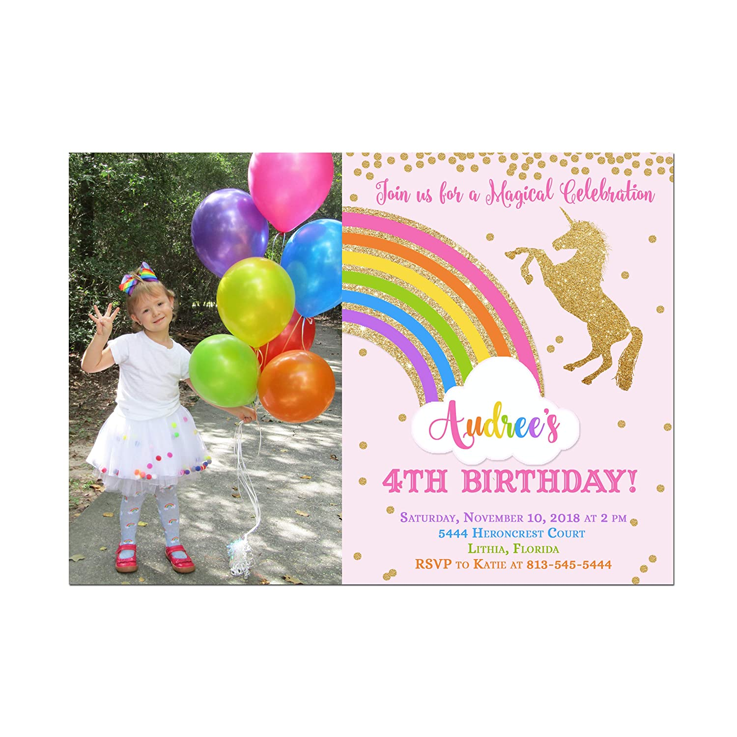 Amazon Bright Rainbow And Unicorn Photo Birthday Party Invitation Base Price Is For A Set Of 10 5x7 Inch Card Stock Invitations With White Envelopes