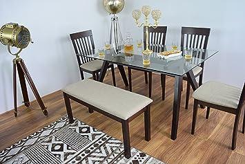 Bravich New Moderne Glas Rechteck Esszimmer Tisch 4 Stühle Mit Bank Set  Massiv Holz Küche Möbel