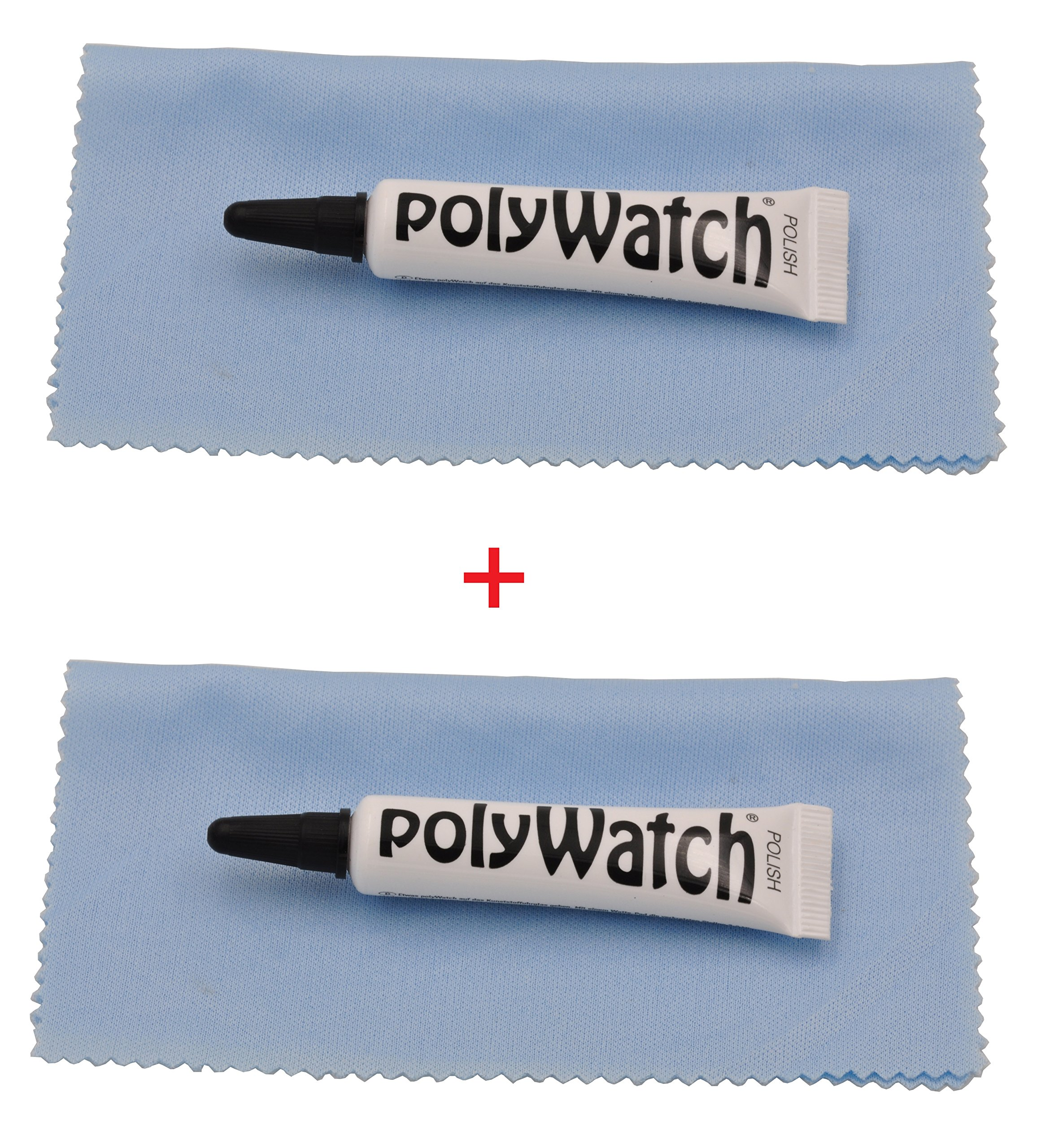 Polywatch Poly Watch Plastic Crystal Glass Polish & Scratch Remover Repair Tool(2 Units) with 2 pieces of cloth