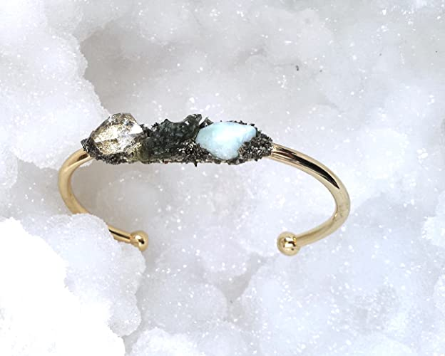 Raw Crystal Gem Cuff with Moldavite Stone Herkimer Diamond
