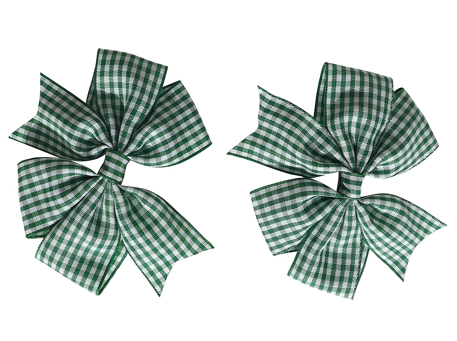 2 x Green Gingham Check Hair Bows Hair Clips Ideal for Matching BTS Back to School Summer Dress's Uniform
