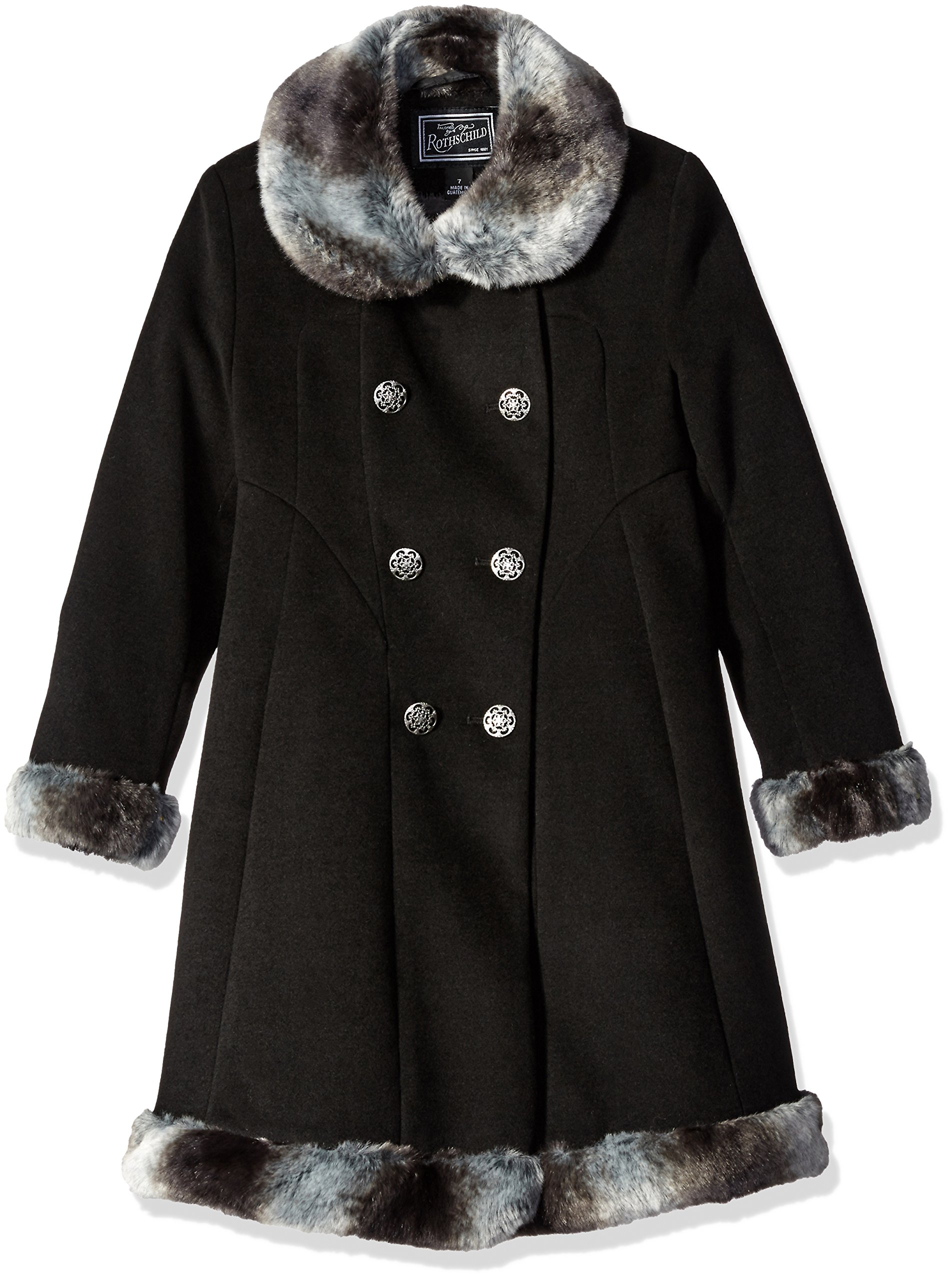Rothschild Big Girls Faux Wool Skater Coat, Black, 14