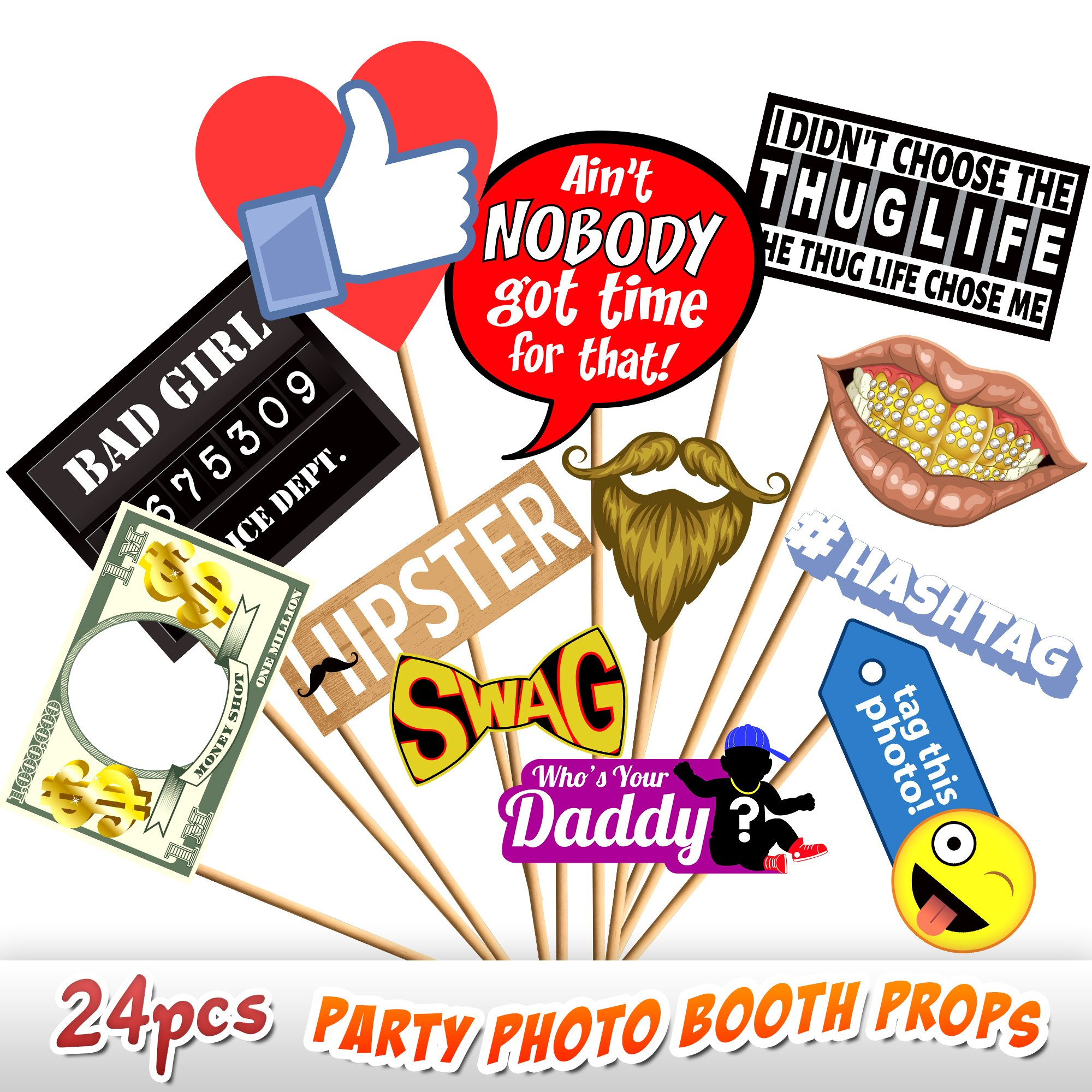 24pc Party Photo Booth Props, Novelty Dress Up Accessories, Decorations for Birthday Parties, Emoji Photo Booth Prop, Hipster Bow Tie, Social Media Like Button, Grillz Teeth, etc.